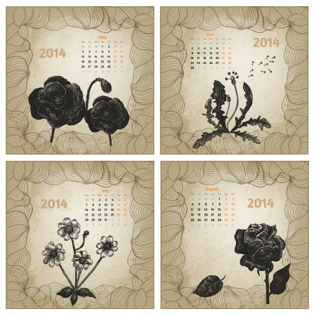 Vintage style 2014 year vector calendar. Hand drawn ink flowers. Part 2 (May, June, July, August) Vector