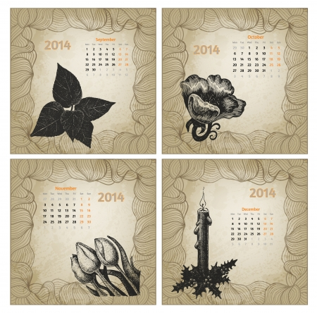 Vintage style 2014 year vector calendar. Hand drawn ink flowers. Part 3 (September, October, November, December) Vector