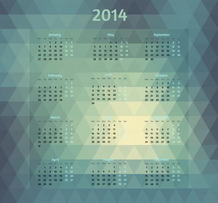 geometric style: Geometric style 2014 year vector calendar