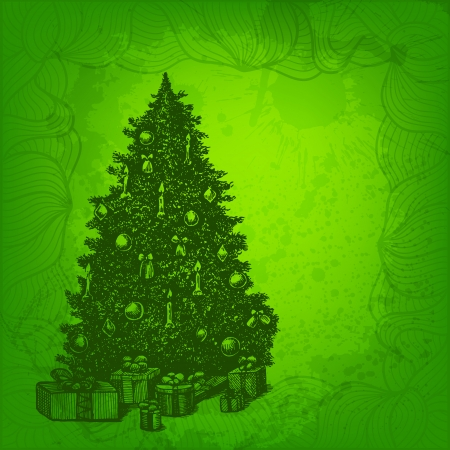 Colorful vector background. Christmas tree and presents Vector