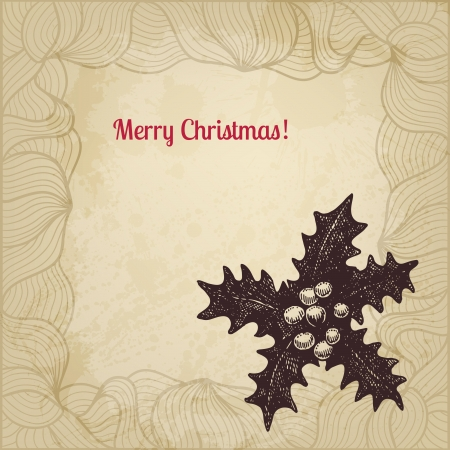 winterberry: Hand drawn winterberry Christmas card