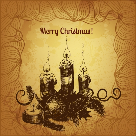 winterberry: Artistic vector Christmas card with hand drawn holiday composition: candles, winterberry and fir tree needles