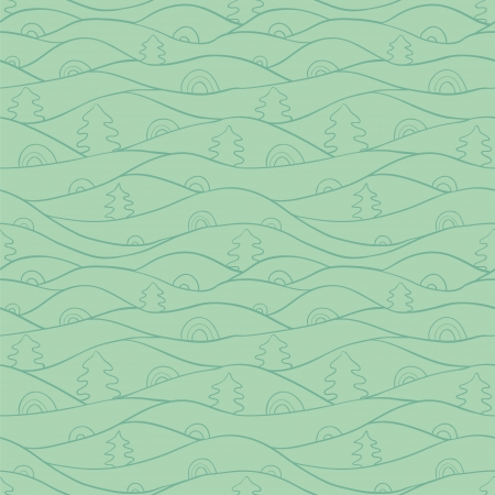Abstract vector seamless pattern with doodle fir trees. Vector