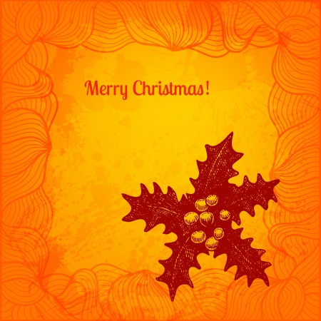 winterberry: Winterberry Christmas card. Vector background Stock Photo