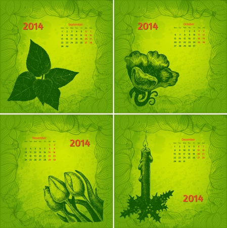 Colorful 2014 year vector calendar. Floral botanical series. Part 3 Vector