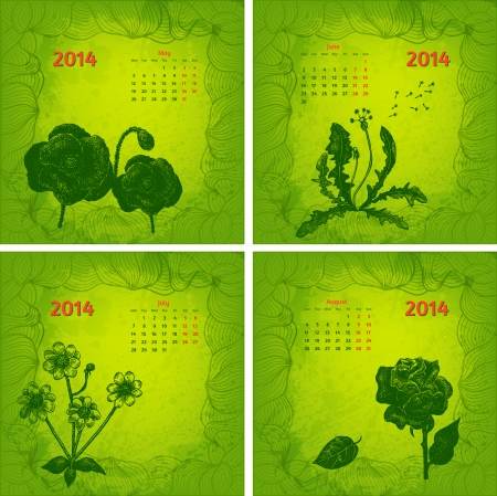 Colorful 2014 year vector calendar  Floral botanical series  Part 2 Vector