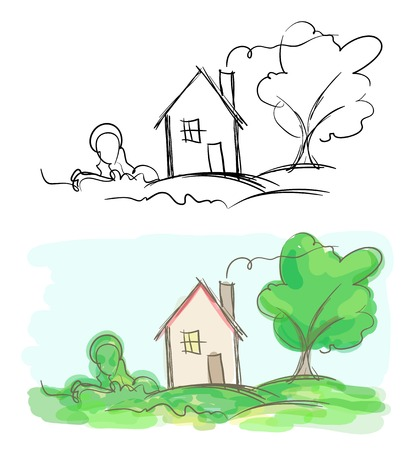 Vector sketches of village house and tree. Black and white and colorful Vector