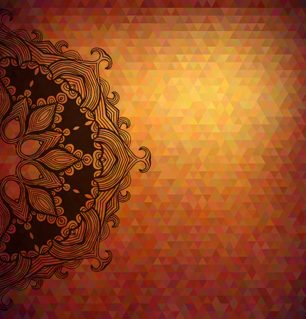 Abstract polygon vector background with beautiful lace stylized arabesque