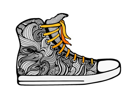 lacing: Vector colorful lacing gumshoe drawing