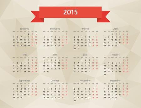 red ribbon week: Abstract vector 2015 year polygonal calendar