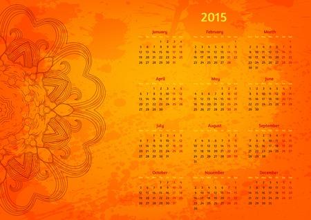 Abstract artistic arabesque 2015 year vector calendar