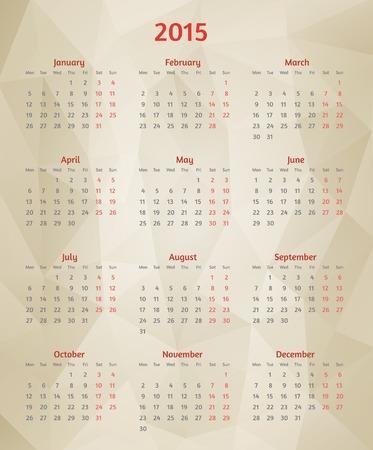 Abstract vector 2015 year polygonal calendar