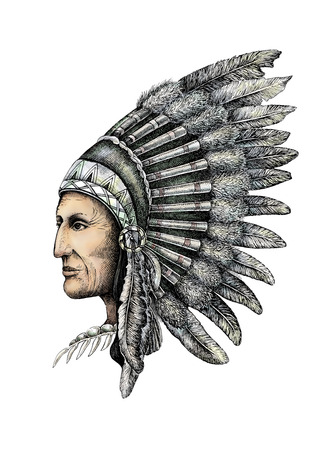 indian chief: Artistic drawing of native american man