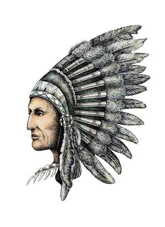 Artistic drawing of native american man