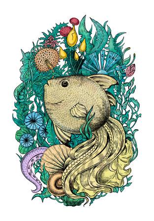 Fantasy fish. Raster illustration
