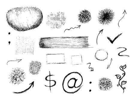 pont: Set of vector hand drawn shapes, signs and symbols