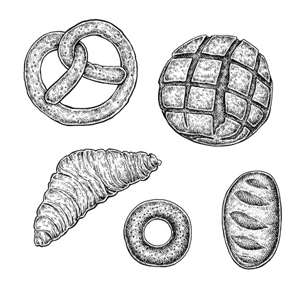 Collection of hand drawn ink bakery sketches. Black and white vector artwork.