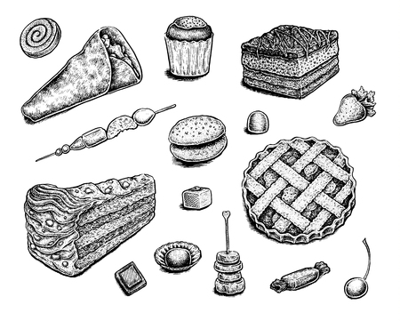 cake slice: Collection of hand drawn ink desserts.