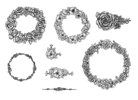 garland: Collection of ink hand drawn round floral frames and stylized vintage design elements. Vector artwok.