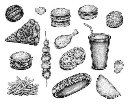 comida chatarra: Colección de tinta dibujado bocetos de comida rápida de la mano.