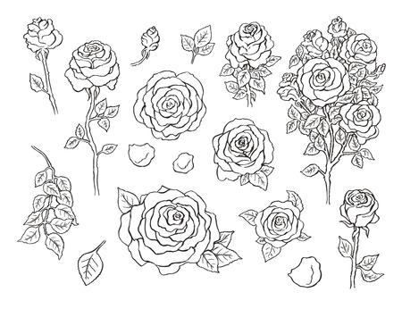 bunch flowers: Set of ink hand drawn stylized flowers