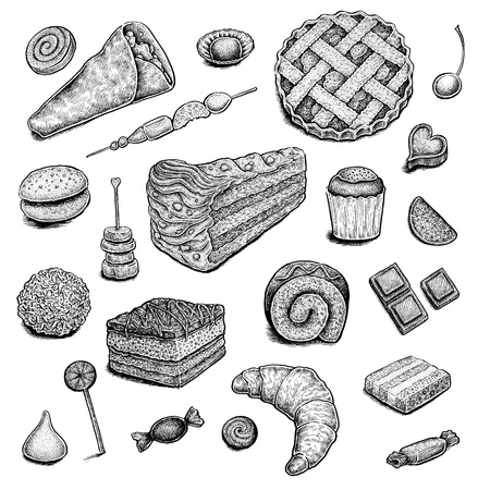 confectionery: Collection of hand drawn ink desserts.