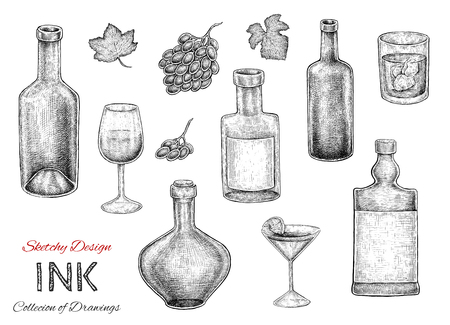 bocal: Set of hand dran ink sketches of bottles, drinks and alcohol production. Raster illustration