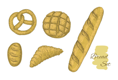 newly baked: Collection of hand drawn bakery objects. Vector vintage sketchy style illustration set