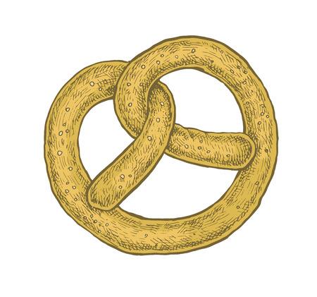 Hand drawn sketchy style colorful pretzel. Vector illustration