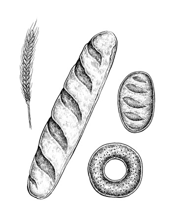 Black and white hand drawn sketches of pastry baked goods: baguette, bun, loaf of white bread. Wheat ear symbol. Vector illustration