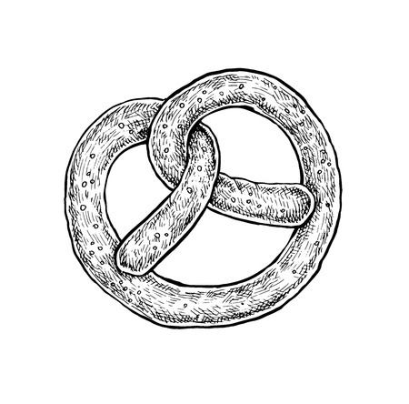 newly baked: Black and white hand drawn sketch of a pretzel. Vector illustration