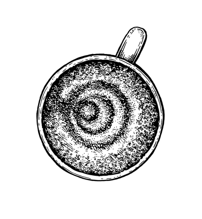 black coffee: Black and white hand drawn coffee cup. Vector illustration Illustration