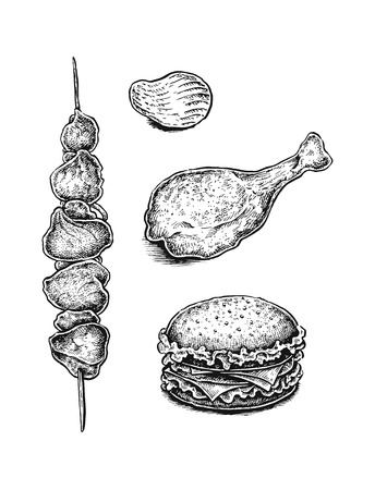 Black and white hand drawn fast food set: sandwich, kebab, fried chicken leg and chips. Vector illustration