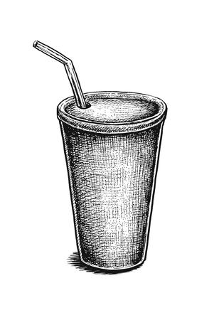 soda can: Black and white hand drawn soda can. Vector illustration