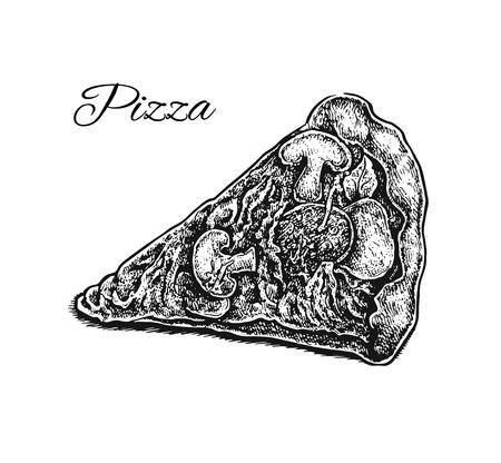 pizza slice: Black and white hand drawn pizza slice. Vector illustration