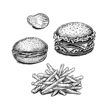 fried potatoes: Black and white hand drawn fried potatoes, chips and sandwiches. Vector illustrations set