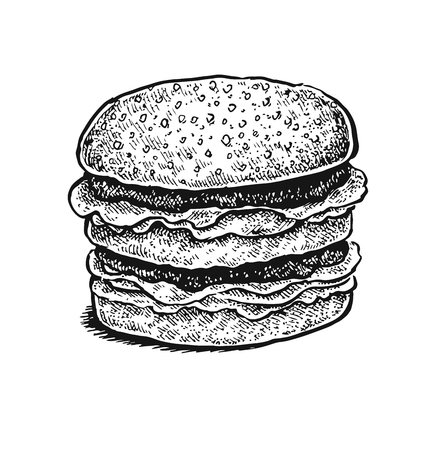 retro backgrounds: Black and white hand drawn sketchy sandwich. Vector illustration Illustration