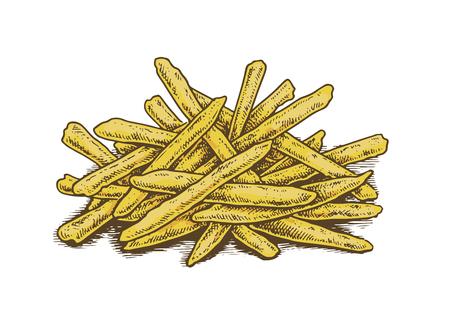 fried potatoes: Colorful vintage style hand drawn fried potatoes. Vector illustration