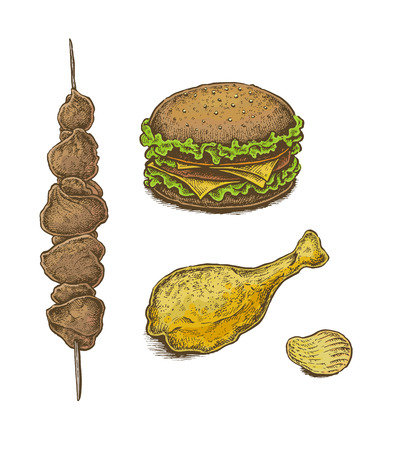 trotters: Colorful hand drawn fast food set: sandwich, kebab, fried chicken leg and chips. Vector illustration Illustration