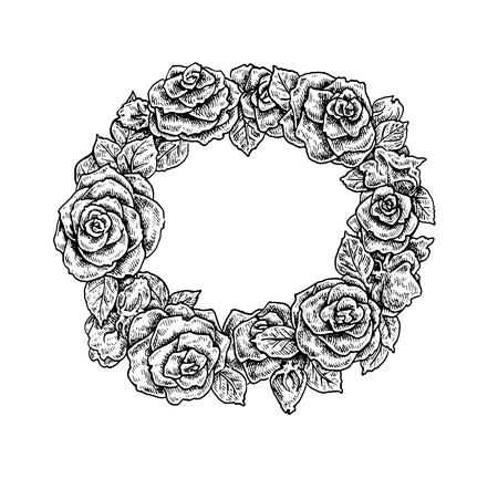 chaplet: Beautiful black and white hand drawn vintage style round floral frame. Roses. Vector illustration for your design