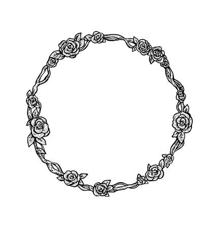 marcos redondos: Hermosa mano en blanco y negro dibujado marco redondo floral del estilo de la vendimia. Rosas. ilustración vectorial para su diseño