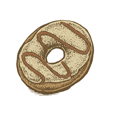 donut style: Colorful hand drawn vector illustration of a chocolate and glaze donut. Vintage sketchy style. Illustration