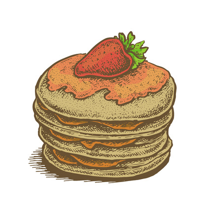 filling: Colorful hand drawn vector illustration of pancakes with fruit filling and a strawberry on top. Vintage sketchy style. Illustration