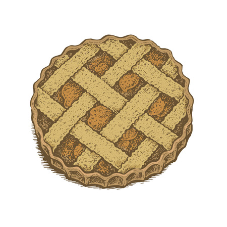 apple pie: Colorful hand drawn vector illustration of an apple pie. Vintage sketchy style illustration