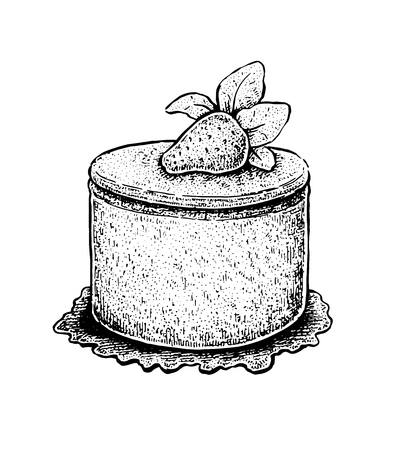 fruit cake: Black and white hand drawn vector illustration of a fruit cake with a strawberry on top. Vector vintage sketchy style illustration Illustration