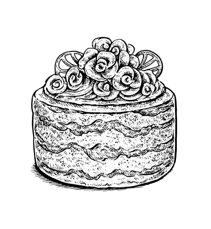 creamy: Black and white hand drawn vector illustration of a creamy fancy wedding cake. Vintage sketchy style. Illustration