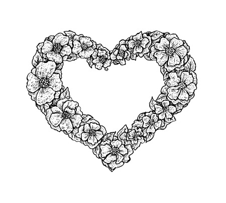 white heart: Black and white vintage style floral frame in a shape of a heart with a place for your text. Valentine style design. Vector format Illustration