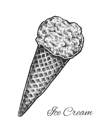 popsicle: Black and white vintage sketchy style illustration of an ice cream in a waffle cone. Vector
