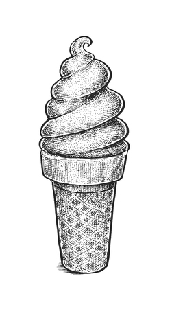 Black and white vintage sketchy style illustration of an ice cream in waffle cup. Vector