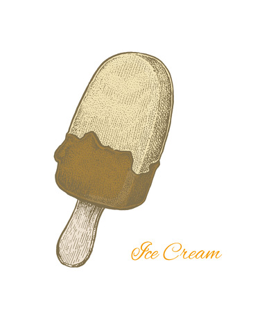 popsicle: Colorful vintage sketchy style illustration of a chocolate cream plombir ice cream. Vector format